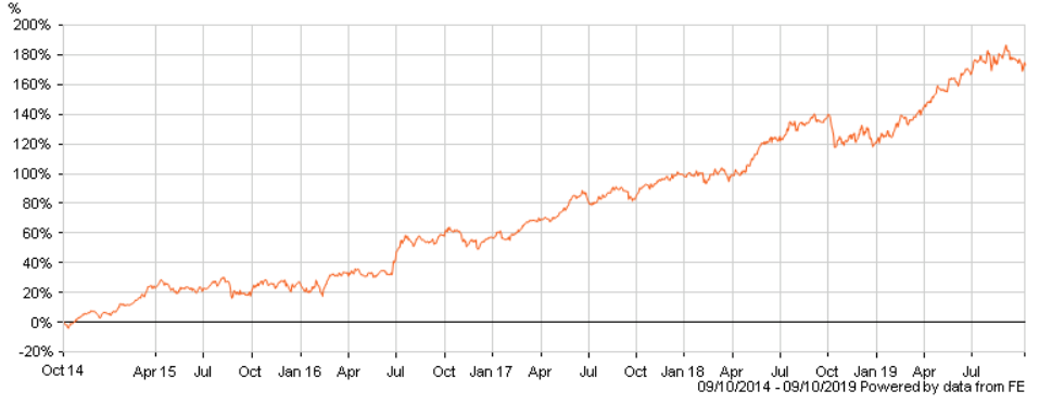 Graph that shows the profits obtain by the Lindsell Train Equity Investment Fund in the past 5 years. This is the last stop of my stock market journey