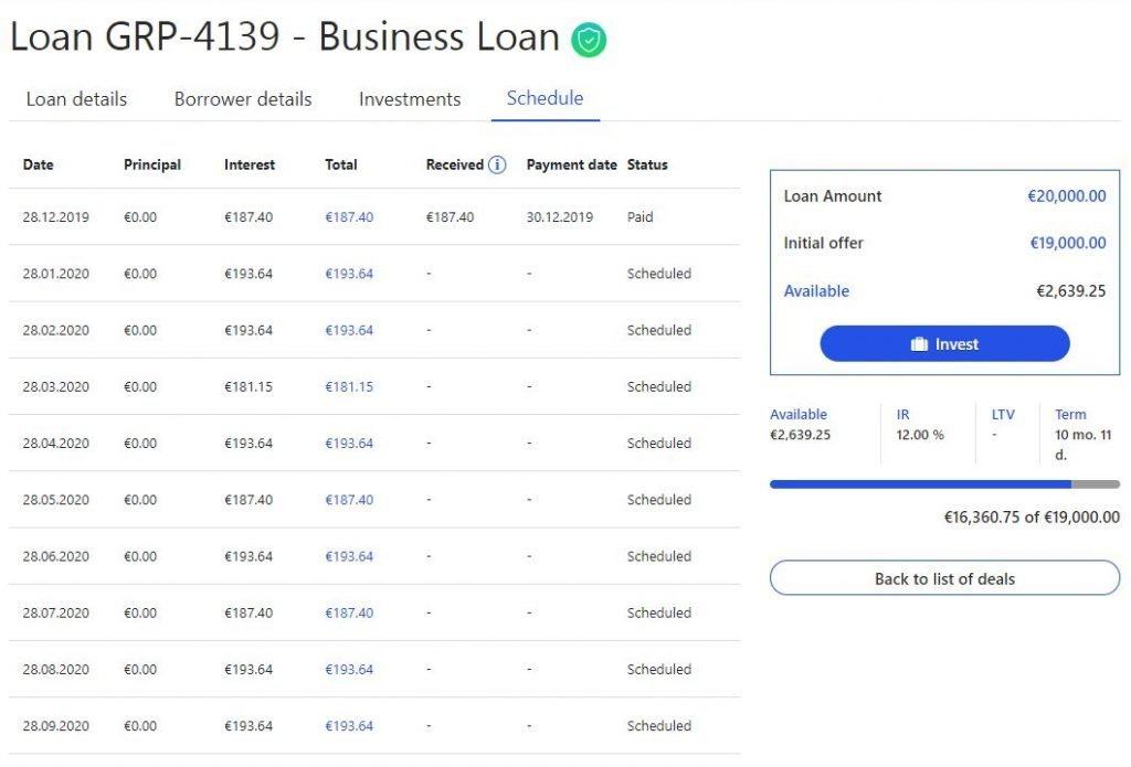 On the loan page you can see the payment calendar