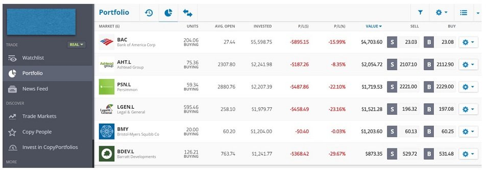 In the portfolio section you can see how your stocks are performing.